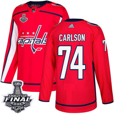 Adidas Capitals #74 John Carlson Red Home Authentic 2018 Stanley Cup Final Stitched NHL Jersey