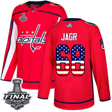 Adidas Capitals #68 Jaromir Jagr Red Home Authentic USA Flag 2018 Stanley Cup Final Stitched NHL Jersey