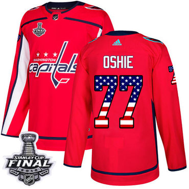 Adidas Capitals #77 T.J. Oshie Red Home Authentic USA Flag 2018 Stanley Cup Final Stitched NHL Jersey