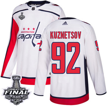 Adidas Capitals #92 Evgeny Kuznetsov White Road Authentic 2018 Stanley Cup Final Stitched NHL Jersey