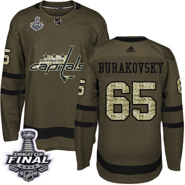 Adidas Capitals #65 Andre Burakovsky Green Salute to Service 2018 Stanley Cup Final Stitched NHL Jersey
