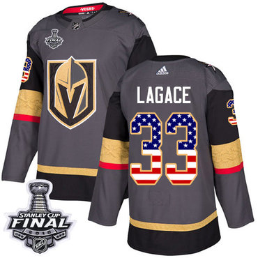 Adidas Golden Knights #33 Maxime Lagace Grey Home Authentic USA Flag 2018 Stanley Cup Final Stitched NHL Jersey