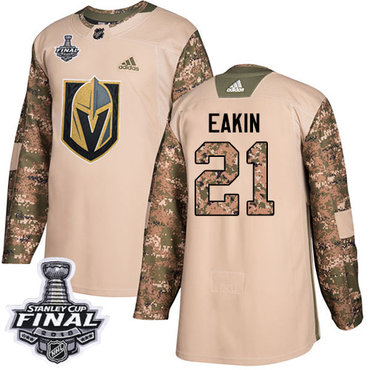 Adidas Golden Knights #21 Cody Eakin Camo Authentic 2017 Veterans Day 2018 Stanley Cup Final Stitched NHL Jersey