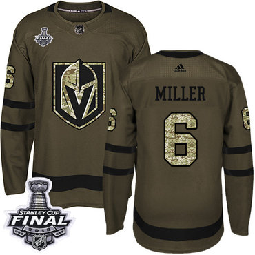 Adidas Golden Knights #6 Colin Miller Green Salute to Service 2018 Stanley Cup Final Stitched NHL Jersey