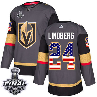 Adidas Golden Knights #24 Oscar Lindberg Grey Home Authentic USA Flag 2018 Stanley Cup Final Stitched NHL Jersey