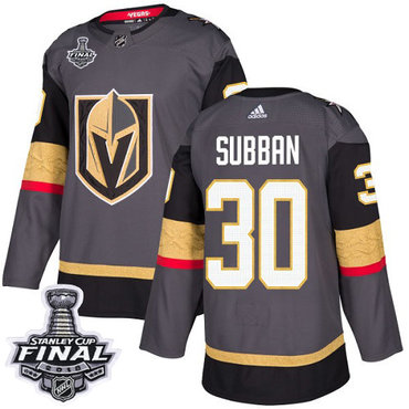 Adidas Golden Knights #30 Malcolm Subban Grey Home Authentic 2018 Stanley Cup Final Stitched NHL Jersey
