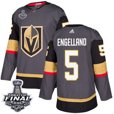 Adidas Golden Knights #5 Deryk Engelland Grey Home Authentic 2018 Stanley Cup Final Stitched NHL Jersey