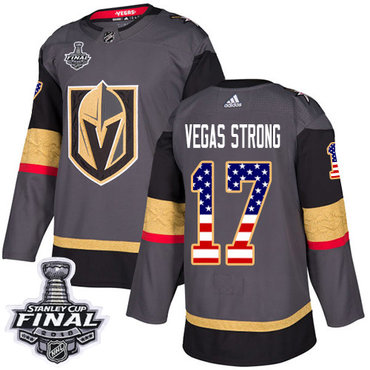 Adidas Golden Knights #17 Vegas Strong Grey Home Authentic USA Flag 2018 Stanley Cup Final Stitched NHL Jersey