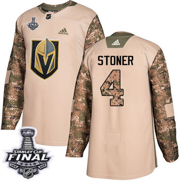 Adidas Golden Knights #4 Clayton Stoner Camo Authentic 2017 Veterans Day 2018 Stanley Cup Final Stitched NHL Jersey