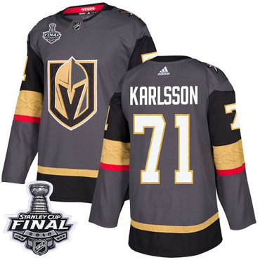 Adidas Golden Knights #71 William Karlsson Grey Home Authentic 2018 Stanley Cup Final Stitched NHL Jersey