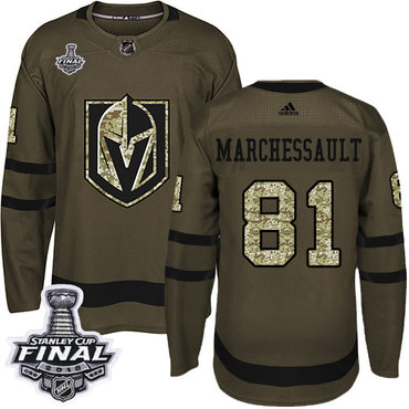 Adidas Golden Knights #81 Jonathan Marchessault Green Salute to Service 2018 Stanley Cup Final Stitched NHL Jersey
