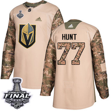 Adidas Golden Knights #77 Brad Hunt Camo Authentic 2017 Veterans Day 2018 Stanley Cup Final Stitched NHL Jersey