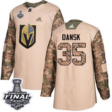 Adidas Golden Knights #35 Oscar Dansk Camo Authentic 2017 Veterans Day 2018 Stanley Cup Final Stitched NHL Jersey