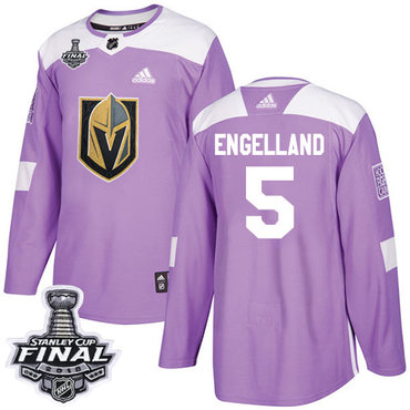 didas Golden Knights #5 Deryk Engelland Purple Authentic Fights Cancer 2018 Stanley Cup Final Stitched NHL Jersey