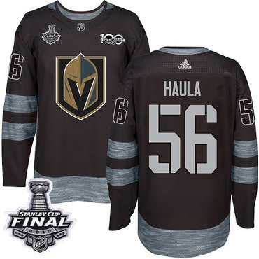 Adidas Golden Knights #56 Erik Haula Black 1917-2017 100th Anniversary 2018 Stanley Cup Final Stitched NHL Jersey