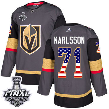 Adidas Golden Knights #71 William Karlsson Grey Home Authentic USA Flag 2018 Stanley Cup Final Stitched NHL Jersey