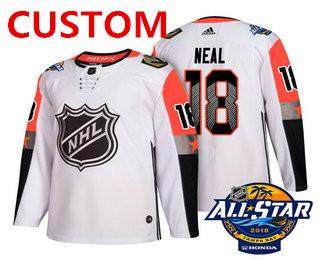 Custom Men's Vegas Golden Knights White 2018 NHL All-Star Stitched Ice Hockey Jersey