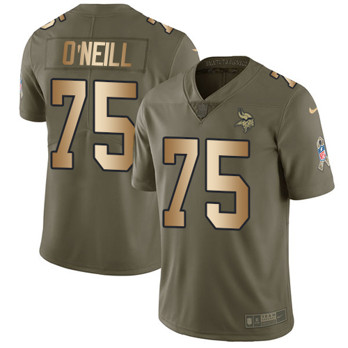 Nike Minnesota Vikings #75 Brian O'Neill Olive Gold Men's Stitched NFL Limited 2017 Salute To Service Jersey