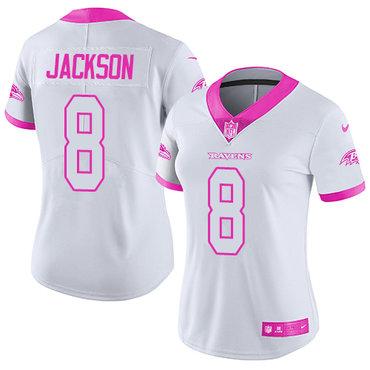 size 40 934b7 f66cb Nike Ravens #8 Lamar Jackson White Pink Women's Stitched NFL ...