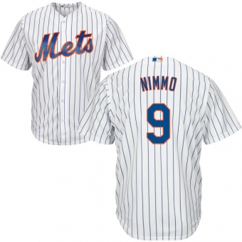 New York Mets #9 Brandon Nimmo White(Blue Strip) New Cool Base Stitched MLB Jersey