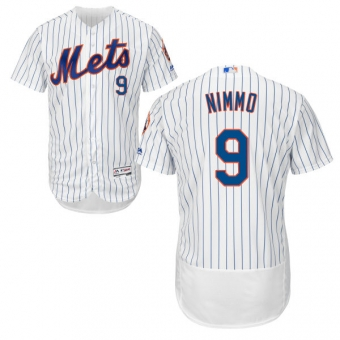 New York Mets #9 Brandon Nimmo White(Blue Strip) Flexbase Authentic Collection Stitched MLB Jersey