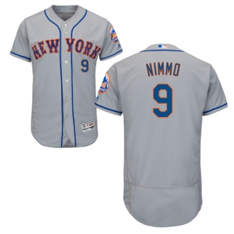 New York Mets #9 Brandon Nimmo Grey Flexbase Authentic Collection Stitched MLB Jersey