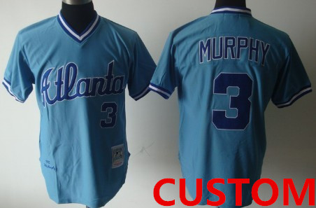 Custom Atlanta Braves Light Blue Throwback Jersey