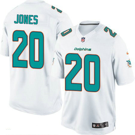 Men's Miami Dolphins #20 Reshad Jones White Road Stitched NFL Nike Game Jersey