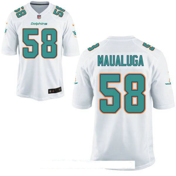 Men's Miami Dolphins #58 Rey Maualuga White Road Stitched NFL Nike Game Jersey