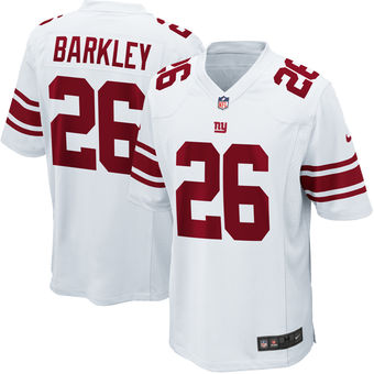 Men's New York Giants #26 Saquon Barkley Nike White 2018 NFL Draft Pick Game Jersey