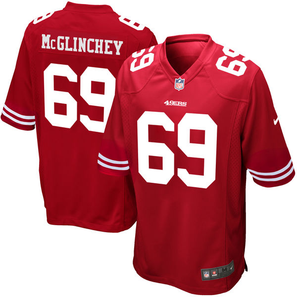Nike San Francisco 49ers #69 Mike McGlinchey Red 2018 NFL Draft Pick Elite Jersey