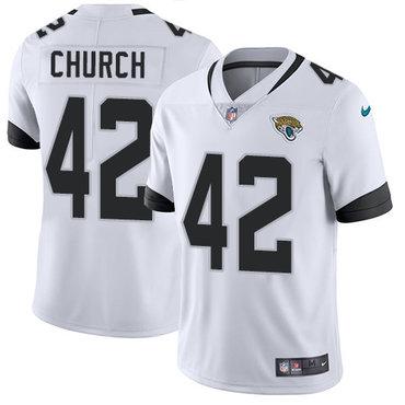 Nike Jacksonville Jaguars #42 Barry Church White Men's Stitched NFL Vapor Untouchable Limited Jersey
