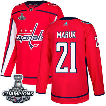 Adidas Washington Capitals #21 Dennis Maruk Red Home Authentic Stanley Cup Final Champions Stitched NHL Jersey