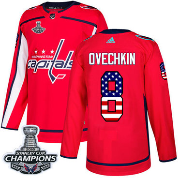 Adidas Washington Capitals #8 Alex Ovechkin Red Home Authentic USA Flag Stanley Cup Final Champions Stitched NHL Jersey