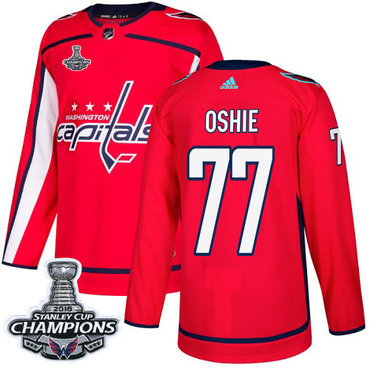 Adidas Washington Capitals #77 T.J Oshie Red Home Authentic Stanley Cup Final Champions Stitched NHL Jersey