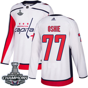 Adidas Washington Capitals  77 T.J. Oshie White Road Authentic Stanley Cup  Final Champions Stitched NHL af8909a66