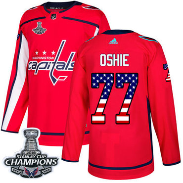 Adidas Washington Capitals #77 T.J. Oshie Red Home Authentic USA Flag Stanley Cup Final Champions Stitched NHL Jersey