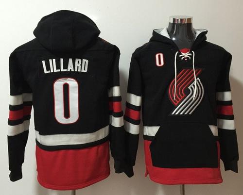 Blazers #0 Damian Lillard Black Name & Number Pullover NBA Hoodie