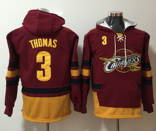 Cavaliers #3 Isaiah Thomas Red Name & Number Pullover NBA Hoodie