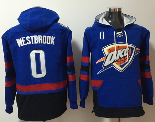 Thunder #0 Russell Westbrook Blue Name & Number Pullover NBA Hoodie