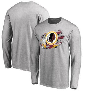 Men's Washington Redskins NFL Pro Line Ash True Colors Long Sleeve T-Shirt
