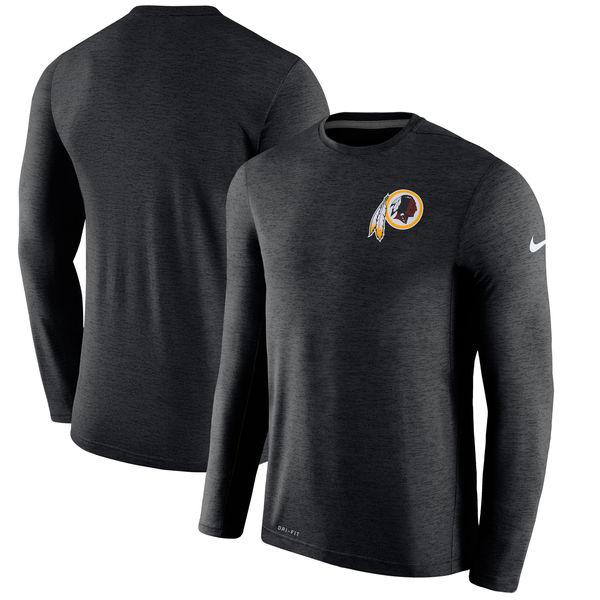 Men's Washington Redskins Nike Black Coaches Long Sleeve Performance T-Shirt