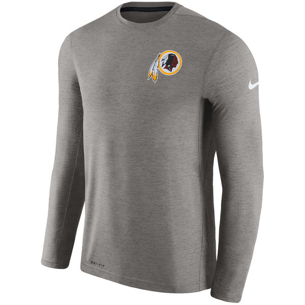 Men's Washington Redskins Nike Charcoal Coaches Long Sleeve Performance T-Shirt