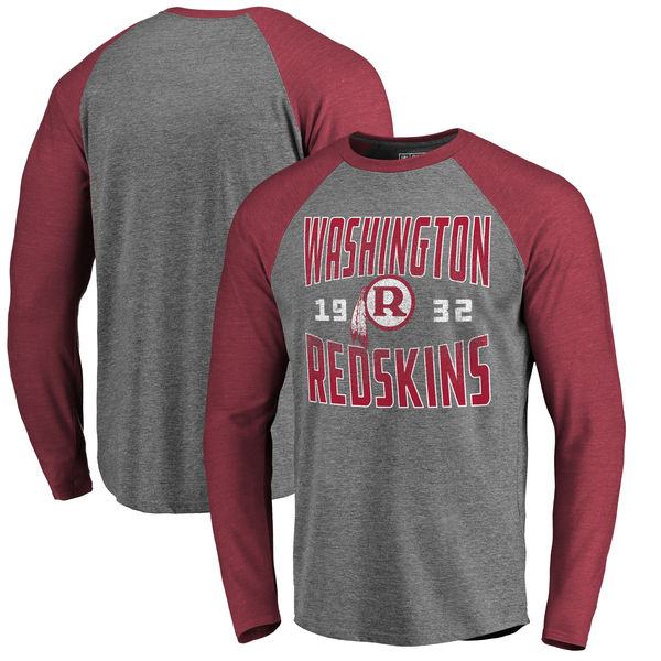 Washington Redskins NFL Pro Line by Fanatics Branded Timeless Collection Antique Stack Long Sleeve Tri-Blend Raglan T-Shirt Ash