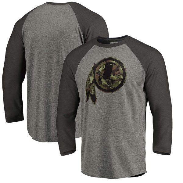 Washington Redskins NFL Pro Line by Fanatics Branded Black Gray Tri Blend 34-Sleeve T-Shirt