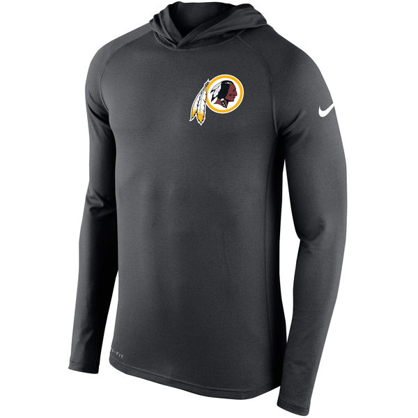 Men's Washington Redskins Nike Charcoal Stadium Touch Hooded Performance Long Sleeve T-Shirt
