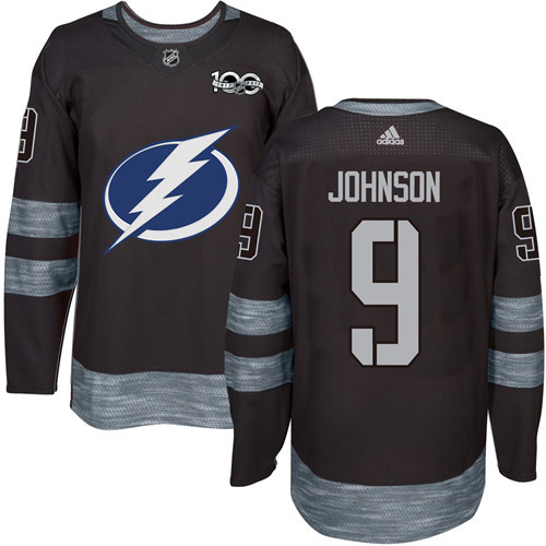 Adidas Lightning #9 Tyler Johnson Black 1917-2017 100th Anniversary Stitched NHL Jersey