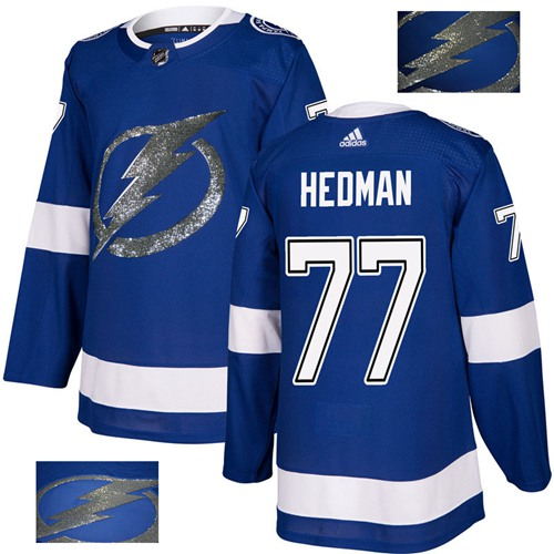Adidas Lightning #77 Victor Hedman Blue Home Authentic Fashion Gold Stitched NHL Jersey