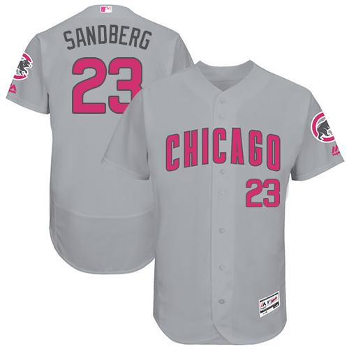 Chicago Cubs #23 Ryne Sandberg Grey Flexbase Authentic Collection Mother's Day Stitched MLB Jersey