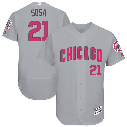 Chicago Cubs #21 Sammy Sosa Grey Flexbase Authentic Collection Mother's Day Stitched MLB Jersey